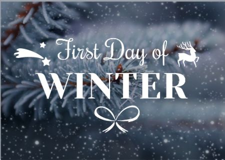 Plantilla de diseño de First day of winter with frozen fir tree branch Card