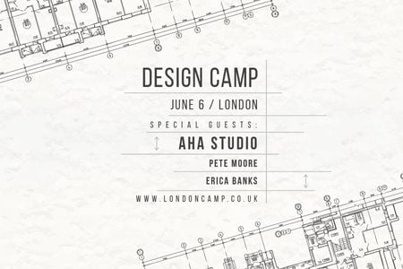 Ontwerpsjabloon van Gift Certificate van Design camp in London