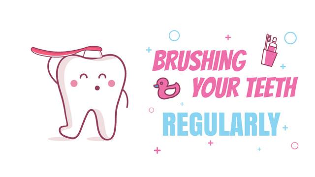 Cartoon Tooth Brushing Itself Full HD video Modelo de Design
