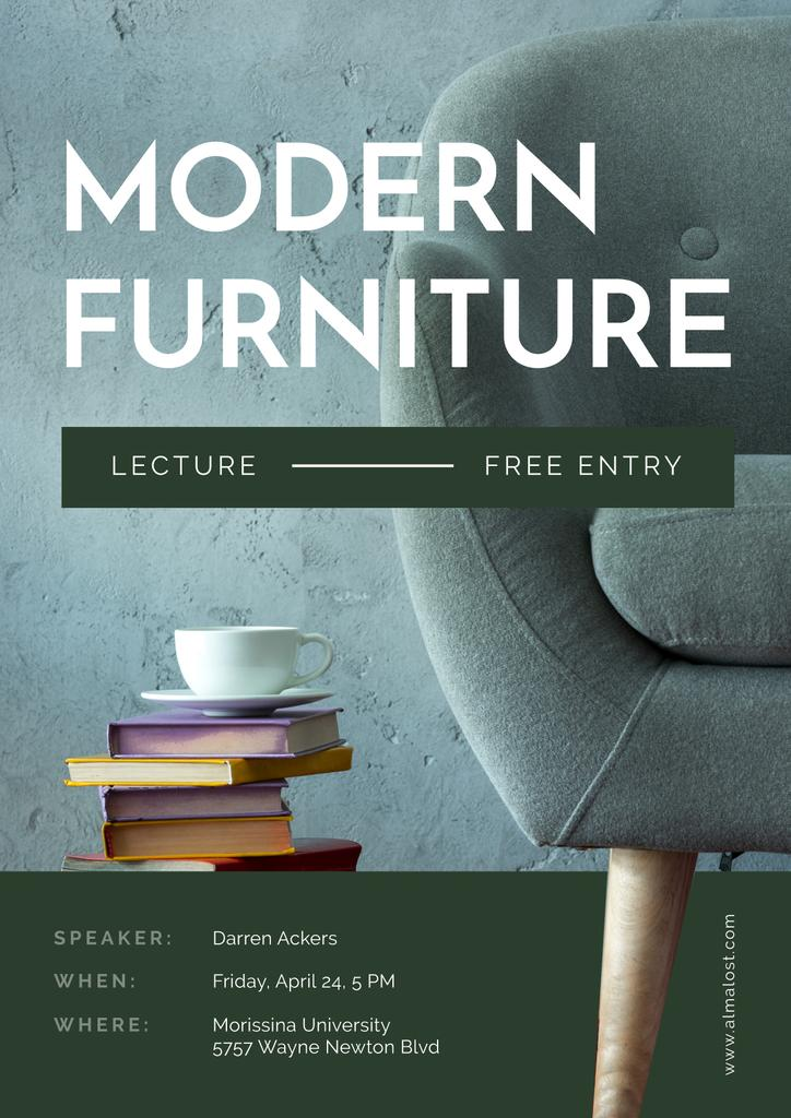 Modern Furniture Offer with stack of Books and Coffee — Maak een ontwerp