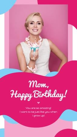 Template di design Woman holding Birthday Cupcake Instagram Story