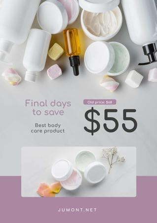 Ontwerpsjabloon van Poster van Cosmetics Sale with Skincare Products with Marshmallow