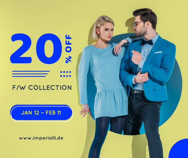 Modèle de visuel Fashion Ad Couple in Blue Clothes - Facebook