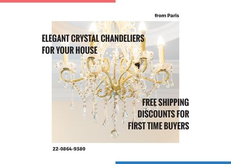 Ontwerpsjabloon van Card van Elegant crystal chandeliers shop