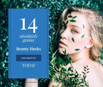 genious beauty hacks banner with beautiful young woman