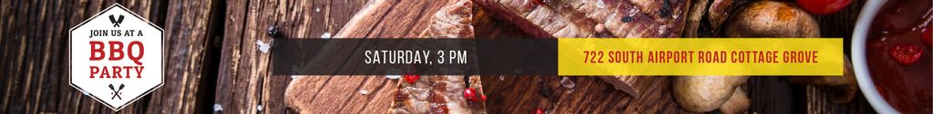 BBQ Party Invitation with Grilled Meat — Crear un diseño