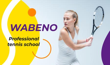 Tennis School Ad Woman with Racket Business cardデザインテンプレート
