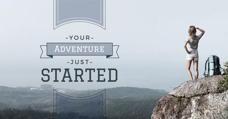 Young woman with backpack on cliff Facebook AD Design Template