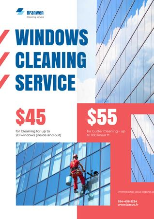 Window Cleaning Service with Worker on Skyscraper Wall Poster Design Template