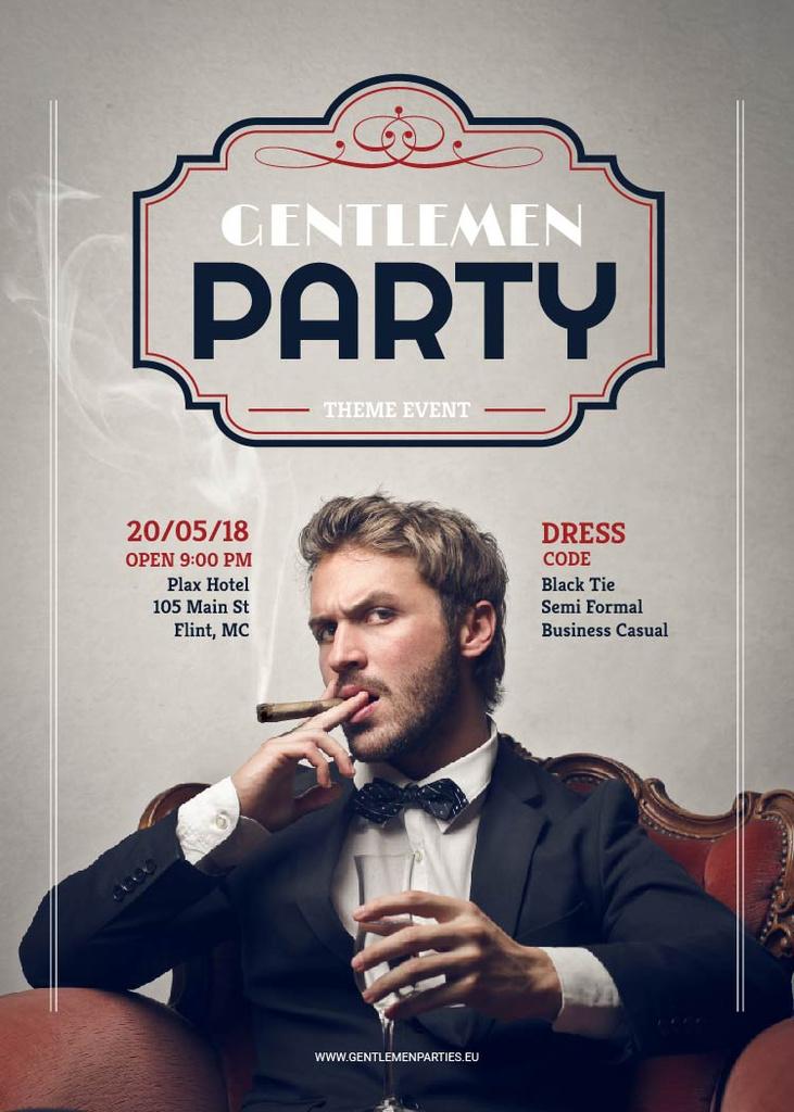 Gentlemen party invitation with Stylish Man — ein Design erstellen