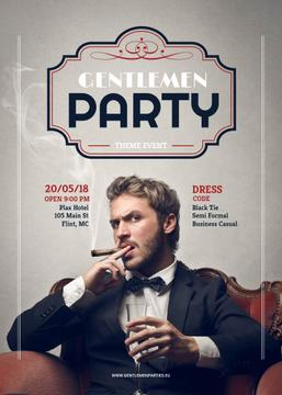 Gentlemen party invitation with Stylish Man