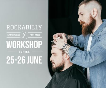 Ontwerpsjabloon van Facebook van Hairstyles workshop ad with client at Barbershop