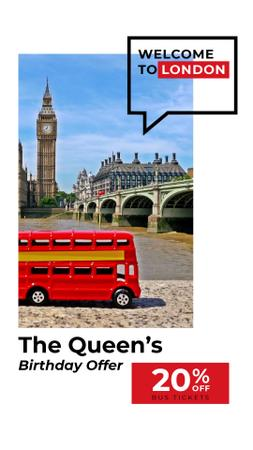 Modèle de visuel Queen's Birthday London Tour Offer - Instagram Video Story