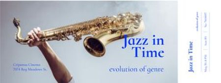 Template di design Jazz Festival Announcement with Saxophone Ticket