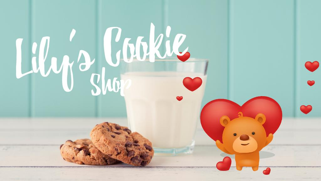 Cookies Shop Ad Loving Teddy Bear with Milk and Cookies | Full Hd Video Template — Crear un diseño