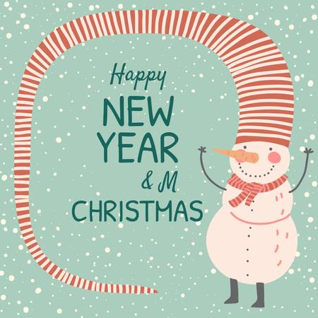 Modèle de visuel Happy New Year and Merry Christmas with Snowman - Instagram AD