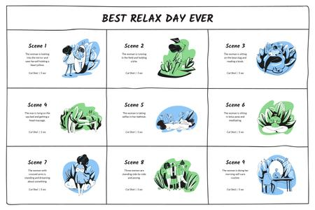 Selfcare and relaxation day Storyboard Design Template