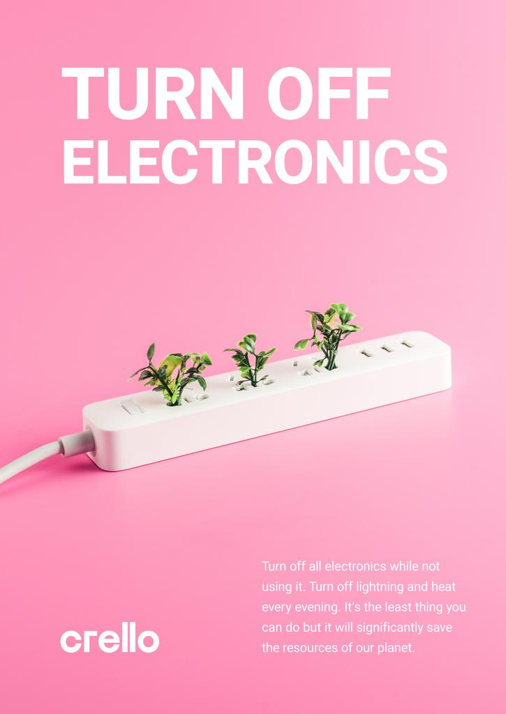 Energy Conservation Concept Plants Growing in Socket | Poster Template — Crea un design