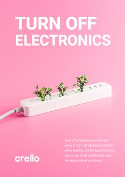 Energy Conservation Concept Plants Growing in Socket | Poster Template