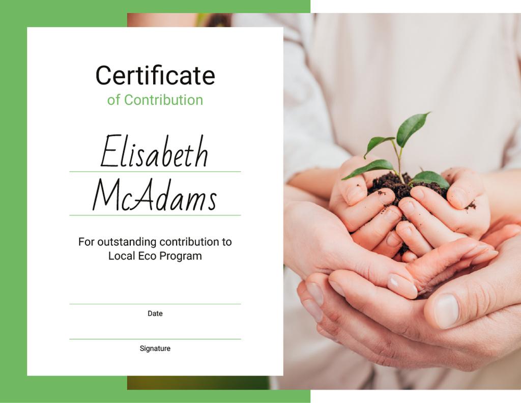 Eco Program Contribution gratitude with plant in hands — Modelo de projeto