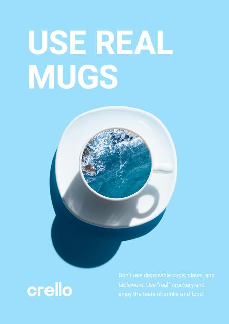 Ecology Concept with Ocean in Ceramic Cup in Blue Poster – шаблон для дизайну