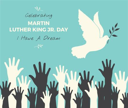 Ontwerpsjabloon van Facebook van Martin Luther King greeting with dove