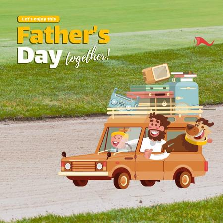 Father's Day with Happy Family in Car Animated Post Modelo de Design