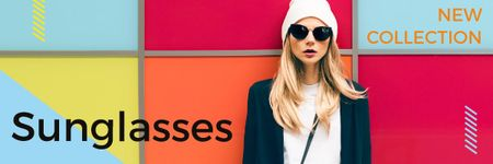 Plantilla de diseño de Sunglasses Ad with Beautiful Girl on Bright Wall Email header