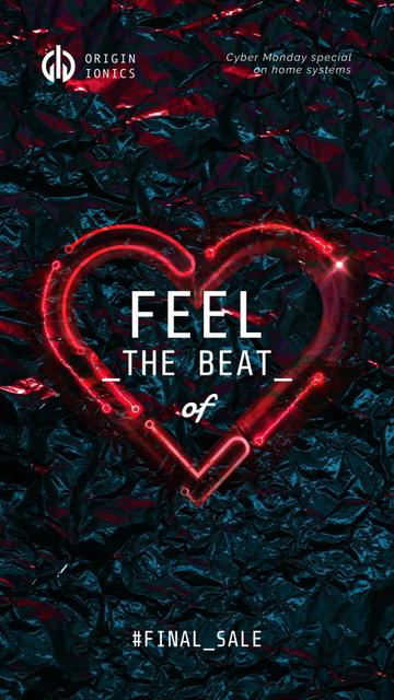 Ontwerpsjabloon van Instagram Video Story van Sale Announcement with Glowing red Heart