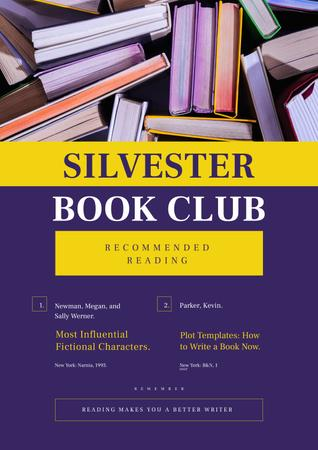 Book Club Promotion in Purple Poster Design Template