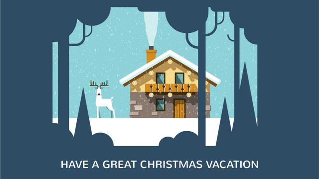 Modèle de visuel Christmas deer by house in winter - Full HD video