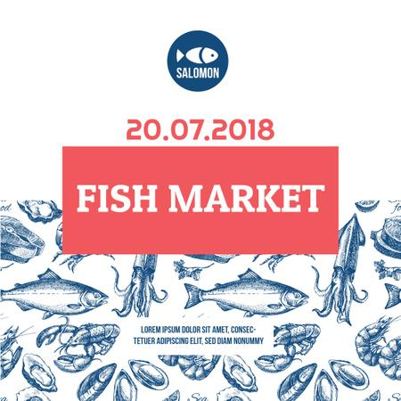 Market Ad Assorted Fresh Seafood Sketches Instagram ADデザインテンプレート