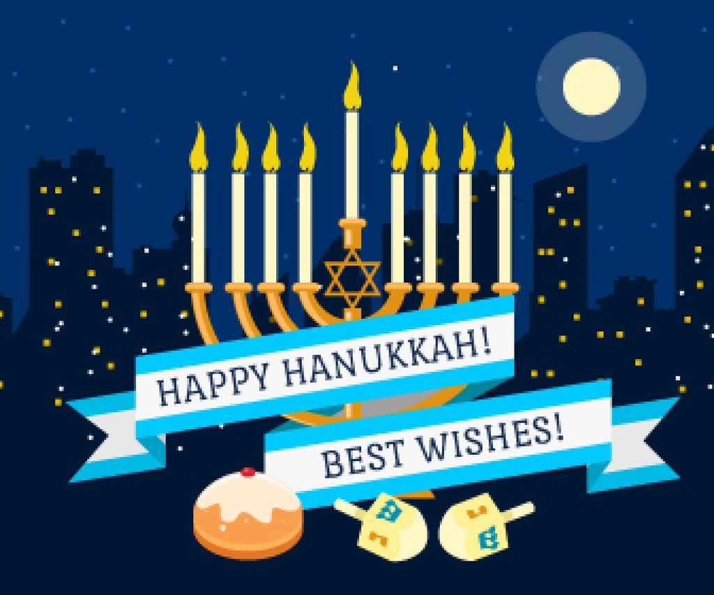 Happy Hanukkah Greeting Menorah and Buns | Large Rectangle Template — Создать дизайн