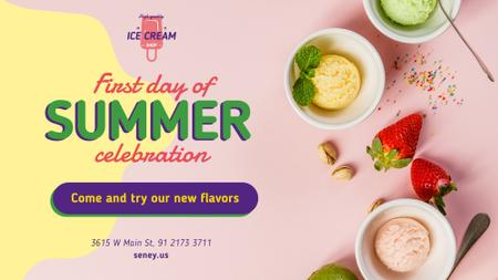 Template di design First Day of Summer Sale Colorful Ice Cream FB event cover