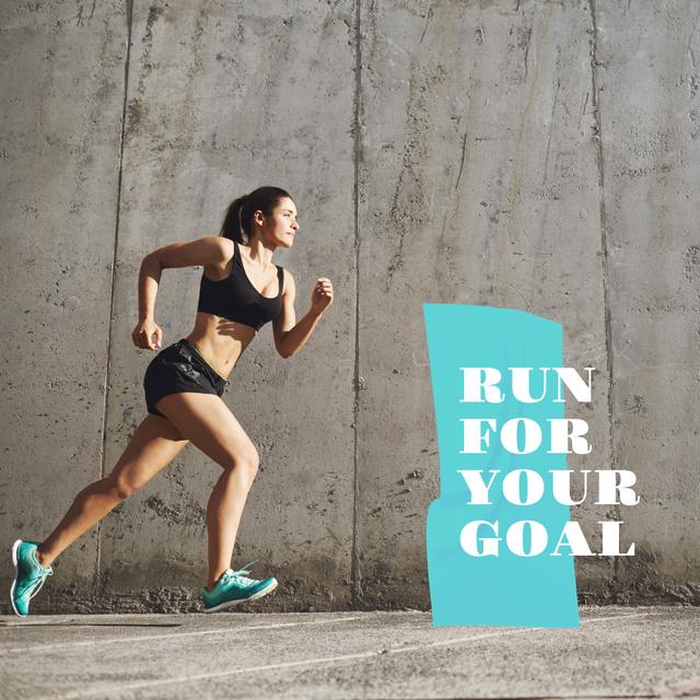 Ontwerpsjabloon van Instagram AD van Fitness inspiration with Running Woman