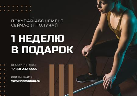 Modèle de visuel Gym Membership Offer with Athletic girl - VK Universal Post