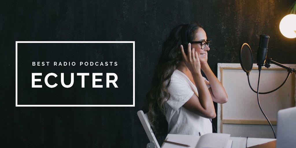 Radio Podcast Announcement Smiling Presenter Image Design Template