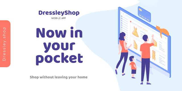 Modèle de visuel Online Shop Ad with people choosing things on screen - Twitter