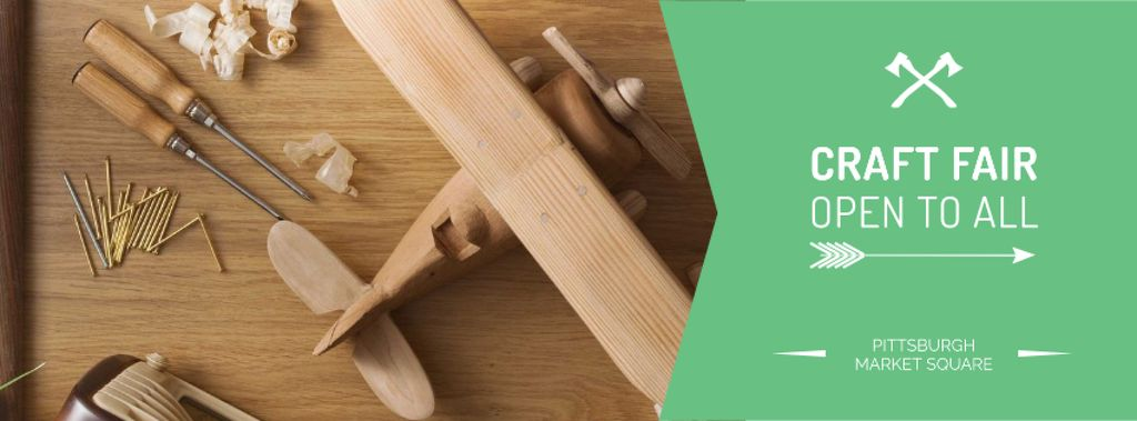 Craft Fair Announcement with Wooden Toy and Tools — Crear un diseño