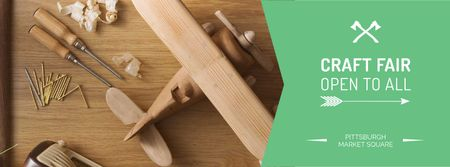Craft Fair Announcement with Wooden Toy and Tools Facebook cover Tasarım Şablonu
