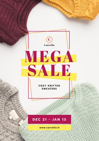 Warm Knitted Sweaters Sale Posterデザインテンプレート