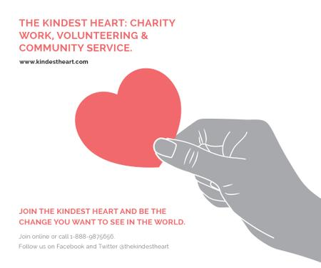 Template di design Charity event Hand holding Heart in Red Facebook
