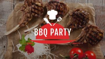 BBQ Party Invitation with Grilled Meat | Youtube Channel Art