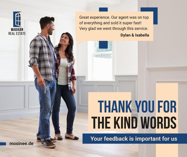 Real Estate Ad Couple in New Home Facebook Modelo de Design