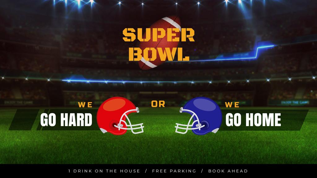 Super Bowl Match Announcement Rugby Ball on Field — Modelo de projeto