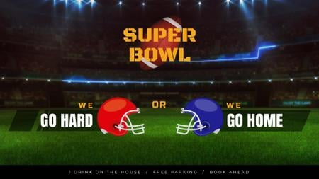 Super Bowl Match Announcement Rugby Ball on Field Full HD video Modelo de Design