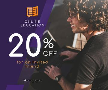 Online Courses Ad Man Typing on Laptop