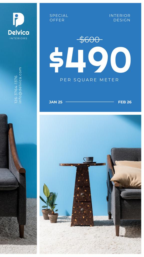 Cozy Home Interior on Blue — Créer un visuel