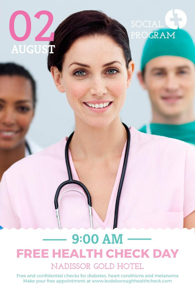 Health Check Invitation Smiling Female Doctor — Crea un design