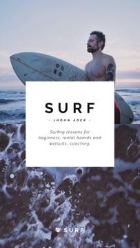 Surfing Lessons Ad Man with Board at Seacoast | Vertical Video Template